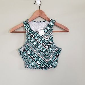 Charlotte Russe tribal pattern crop top size s NWT